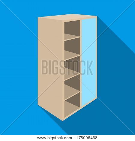 Light Cabinet with bins and mirror.Wardrobe for women's clothing.Bedroom furniture single icon in flat style vector symbol stock web illustration.