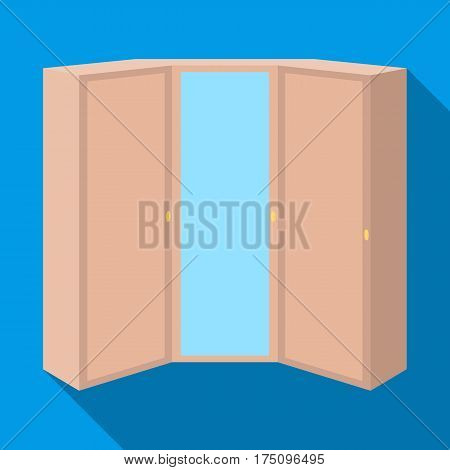 Pink wardrobe with two doors and a mirror.Bedroom wardrobe.Bedroom furniture single icon in flat style vector symbol stock web illustration.