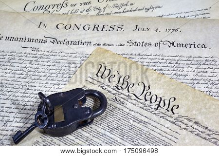 Us Constitution Historical Documents And A Locked Padlock