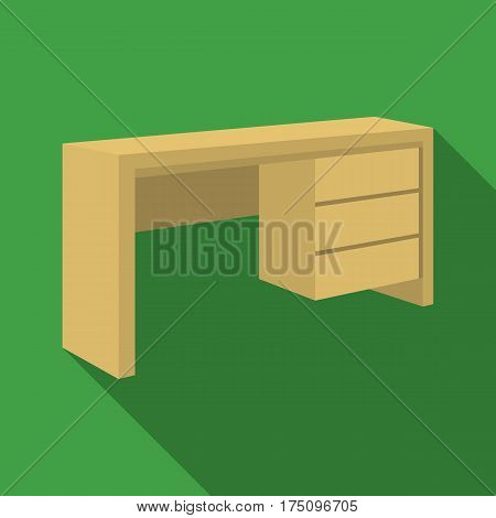 A small table for writing.Wooden table on legs with drawers.Bedroom furniture single icon in flat style vector symbol stock web illustration.