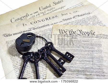 Us Constitution Historical Documents And Ring Of Keys,