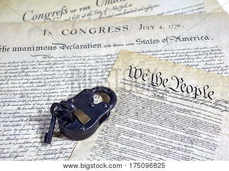 Us Constitution Historical Documents With Locked Padlock