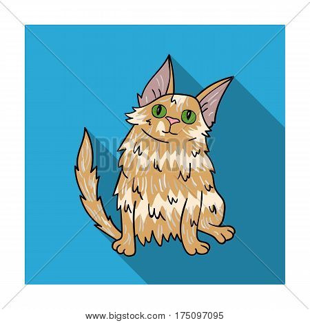 Turkish Angora icon in flat design isolated on white background. Cat breeds symbol stock vector illustration.