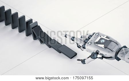 3d rendering robotic hand collapse black dominoes