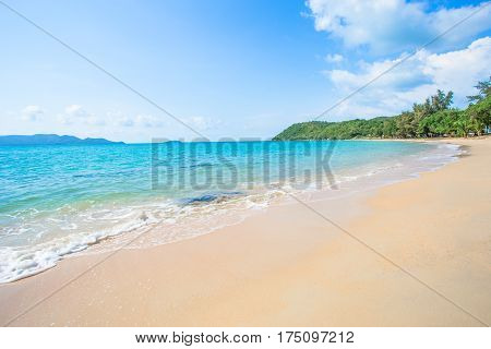 Sea wave foam on Karon beach Phuket Thailand. Exotic paradise of Thailand beach Asia. Peaceful ocean wave at beach.