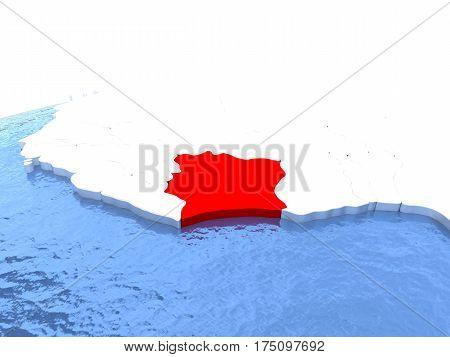 Map Of Ivory Coast On Globe