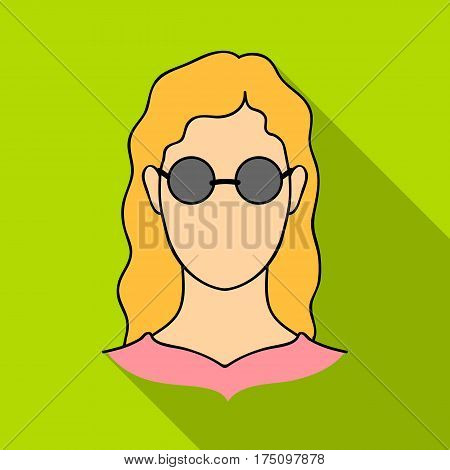A woman with blond hair with glasses.A blind woman because of diabetes.Diabetes single icon in flat style vector symbol stock web illustration.
