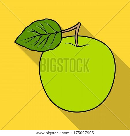Green Apple with leaf.Proper diet for diabetes.Diabetes single icon in flat style vector symbol stock web illustration.