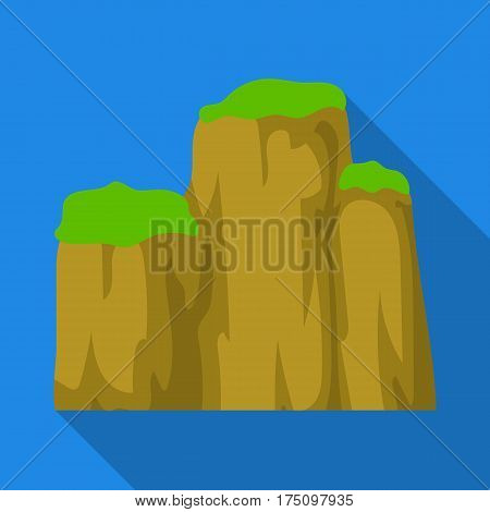 High green mountain with bushes on top.Different mountains single icon in flat style vector symbol stock web illustration.