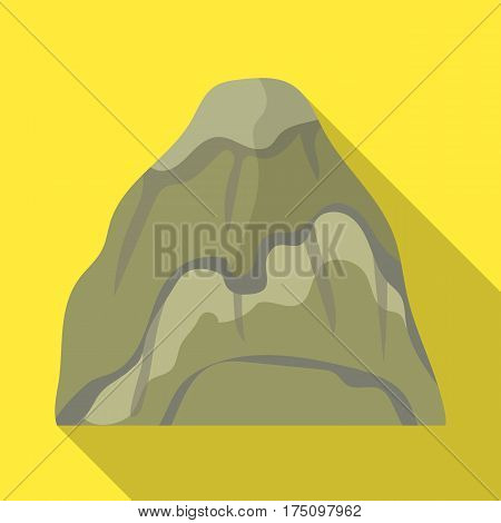 Gray stone mountain. A mountain in which mined minerals.Different mountains single icon in flat style vector symbol stock web illustration.