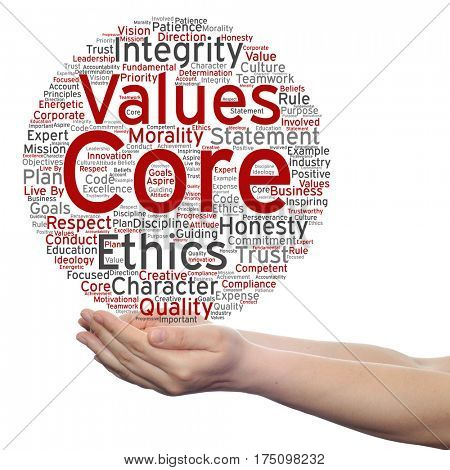 Conceptual core values integrity ethics circle concept word cloud in hands isolated on background