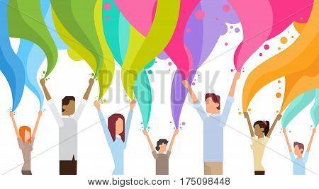 Happy Holi Religious India Holiday Traditional Celebration Greeting Cart Flat Vector Illustration
