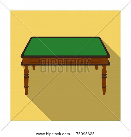 Wooden table icon in flat design isolated on white background. Library and bookstore symbol stock vector illustration.
