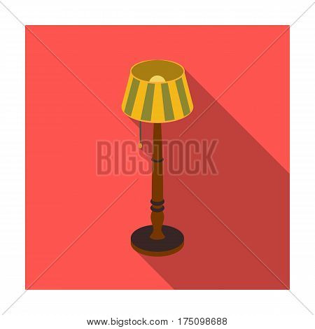 Wooden floor lamp icon in flat design isolated on white background. Library and bookstore symbol stock vector illustration.