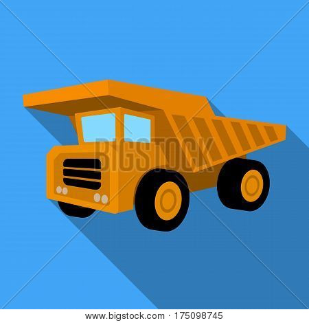 Yellow dump truck with black wheels.The vehicle used for transportation of minerals at the mine.Mine Industry single icon in flat style vector symbol stock web illustration.