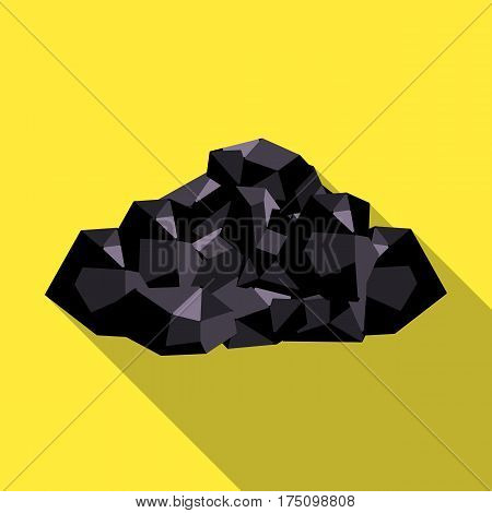 Black minerals from the mine.Coal, which is mined in the mine.Mine Industry single icon in flat style vector symbol stock web illustration.