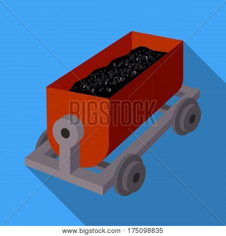 The red cart on wheels for lifts minerals from deep mines.Mine Industry single icon in flat style vector symbol stock web illustration.