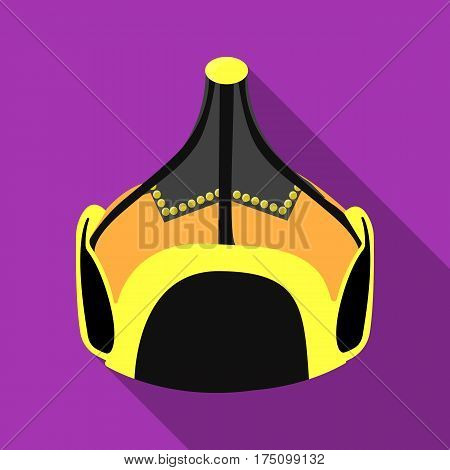Mongolian military helmet.Colored metal helmet conical shape.Mongolia single icon in flat style vector symbol stock web illustration.