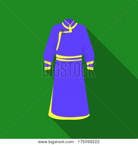 Blue Bathrobe of Mongolians.Fragment nominalnog clothes of Mongolia.Mongolia single icon in flat style vector symbol stock web illustration.