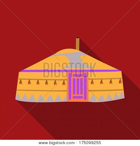Tent in the Mongolian patterns.Mongolian tent.Housing the ancient Mongols.Mongolia single icon in flat style vector symbol stock web illustration.