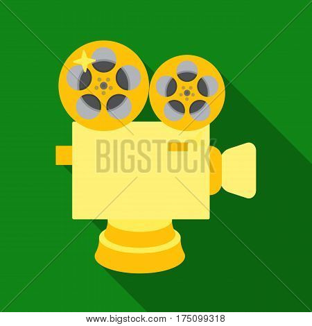 Silver camera with film.The award for the best filming of the movie.Movie awards single icon in flat style vector symbol stock web illustration.