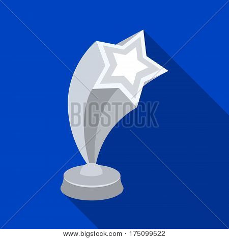 Cup in the shape of silver stars flying upward. Award for best performance of secondary roles.Movie awards single icon in flat style vector symbol stock web illustration.