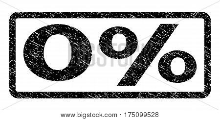 0 Percent watermark stamp. Text tag inside rounded rectangle frame with grunge design style. Rubber seal stamp with unclean texture. Vector black ink imprint on a white background.