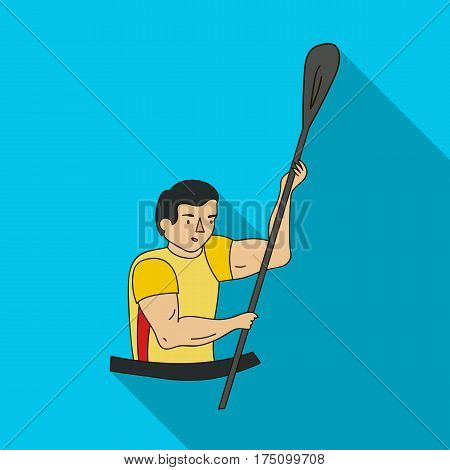 Rower in a boat with a paddle in hand down to the baydak on the wild river.Olympic sports single icon in flat style vector symbol stock web illustration.