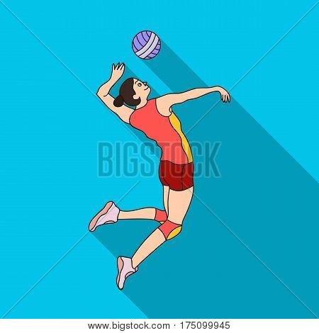 High athlete plays volleyball.The player throws the ball in.Olympic sports single icon in flat style vector symbol stock web illustration.