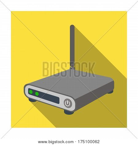Router icon in flat design isolated on white background. Personal computer accessories symbol stock vector illustration.
