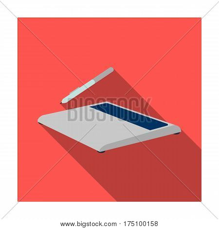 Drawing tablet icon in flat design isolated on white background. Personal computer accessories symbol stock vector illustration.