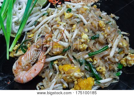 Closeup to Pad Thai or Stir Noodle in Thai Style Background