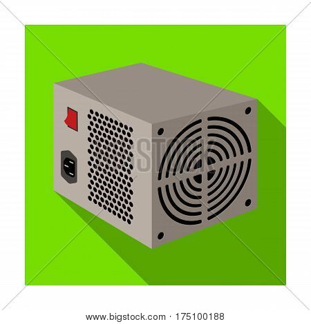 Power supply unit icon in flat design isolated on white background. Personal computer accessories symbol stock vector illustration.