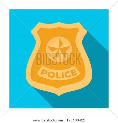 Police badge icon in flat design isolated on white background. Police symbol stock vector illustration.