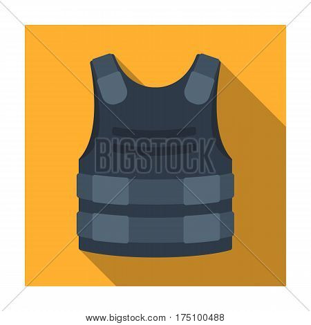 Bulletproof vest icon in flat design isolated on white background. Police symbol stock vector illustration.