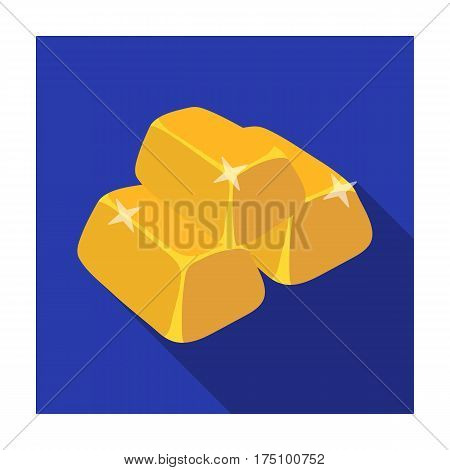 Stack of golden bars icon in flat design isolated on white background. Precious minerals and jeweler symbol stock vector illustration.