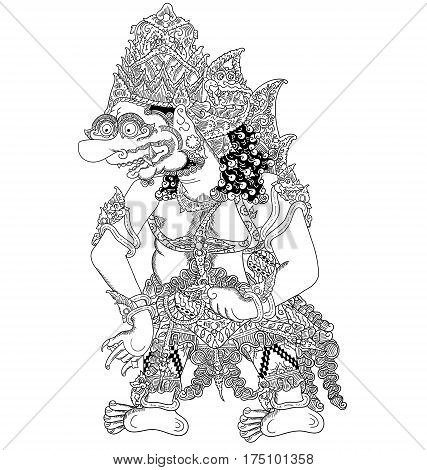 Arimbaka, a character of traditional puppet show, wayang kulit from java indonesia.