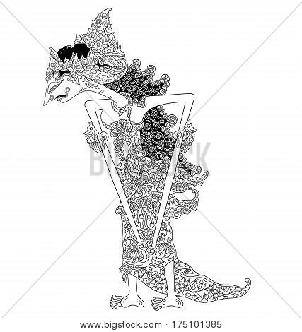 Arimbi, a character of traditional puppet show, wayang kulit from java indonesia.