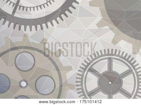 Vector Illustration Of Gear Wheel Abstract Background. Transparent Banner With Clockwork. Poligonal
