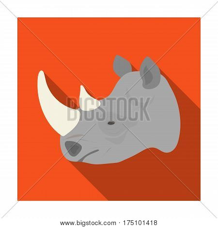 Rhinoceros icon in flat design isolated on white background. Realistic animals symbol stock vector illustration.