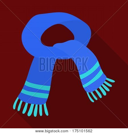 The blue scarf.Winter warm wool scarf for the neck.Scarves and shawls single icon in flat style vector symbol stock web illustration.
