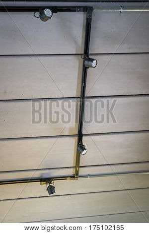 Concrete Ceiling Of Loft Room stock photo