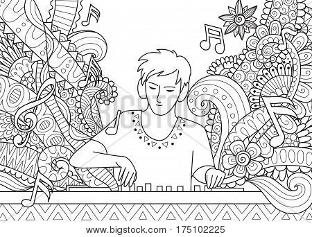 DJ playing music for coloring book page. Stock Vector
