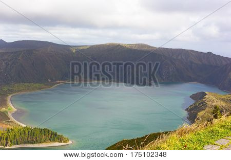 Lake of Fire (Lagoa do Fogo) on Sao Miguel Island Azores Portugal. The lake is the highest on Sao Miguel island and surrounded by Nature Reserve.
