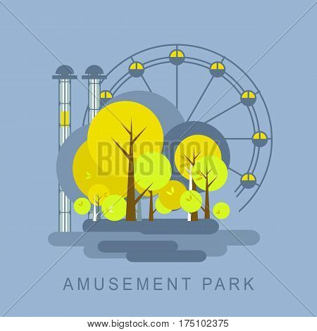 Vector illustration of an urban amusement park Ferris wheel isolated on a blue background autumn