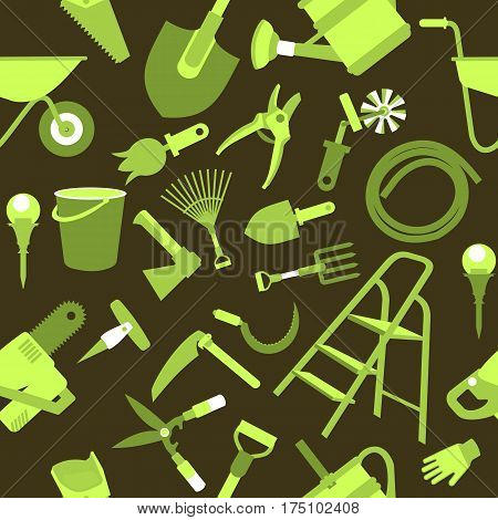 seamless pattern Set of icons of garden tools work equipment Design element for advertisment black