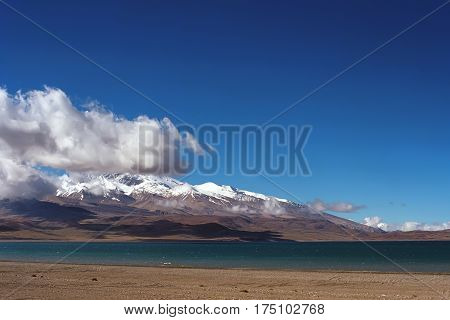 Sacred Lake Rakshastal (4541 m) at the foot of Holy Mount Gurla-Mandhata (7694 m) in Western Tibet.
