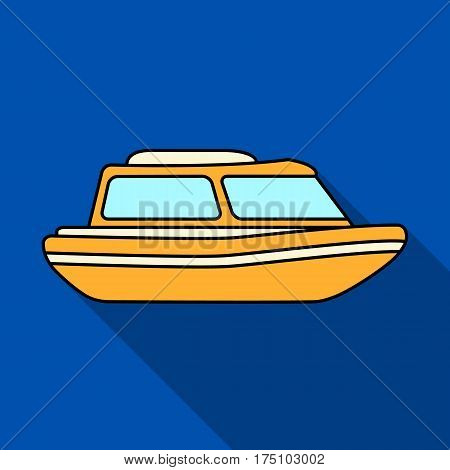 Orange rescue boat.Boat to rescue the drowning persons.Ship and water transport single icon in flat style vector symbol stock web illustration.