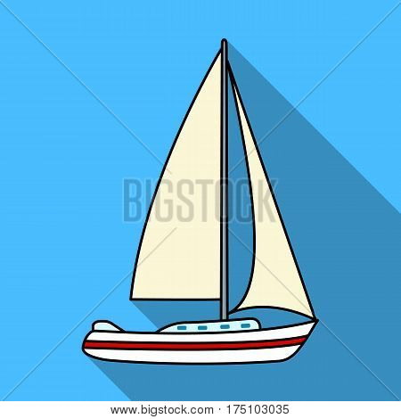Sailboat for sailing.Boat to compete in sailing.Ship and water transport single icon in flat style vector symbol stock web illustration.