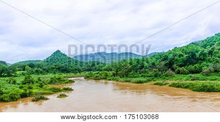 Muddy river and beautiful scenery for background